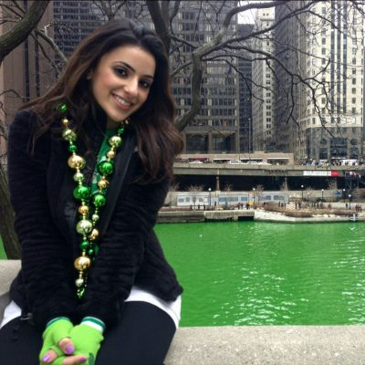 Donna Barkho in front of green river